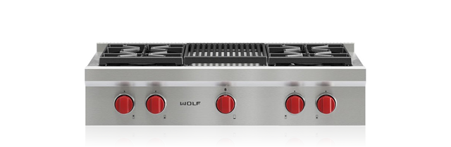 "Wolf 36"" Sealed Burner Rangetop - 4 Burners and Infrared Charbroiler"