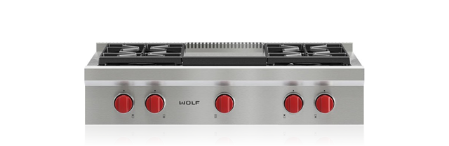 "Wolf 36"" Sealed Burner Rangetop - 4 Burners and Infrared Griddle"