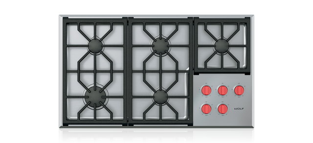 "Wolf 36"" Professional Gas Cooktop - 5 Burners"
