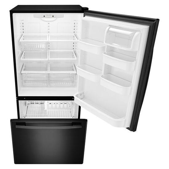 Model: ABB2224BRB | Amana 33-inch Wide Bottom-Freezer Refrigerator with EasyFreezer™ Pull-Out Drawer - 22 cu. ft. Capacity