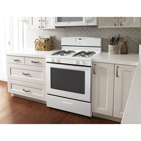 Model: AGR5330BAW | Amana 30-inch Gas Range with Easy Touch Electronic Controls