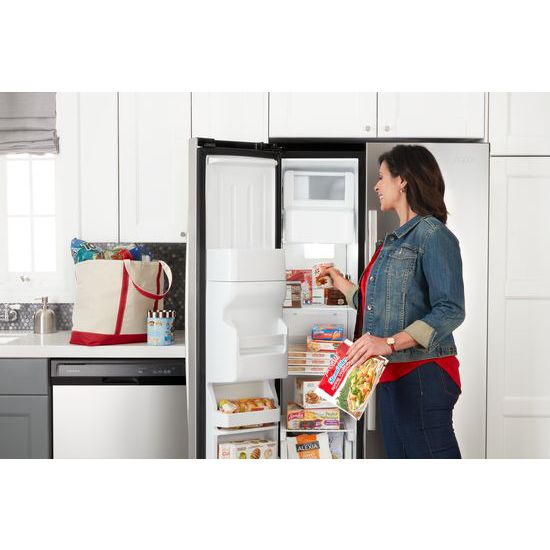 Model: ASI2575GRS | Amana 36-inch Side-by-Side Refrigerator with Dual Pad External Ice and Water Dispenser