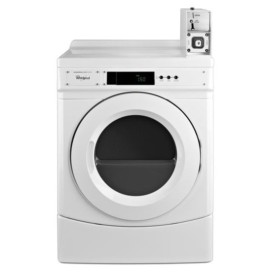 "Whirlpool 27"" Commercial Electric Front-Load Dryer Featuring Factory-Installed Coin Drop with Coin Box"