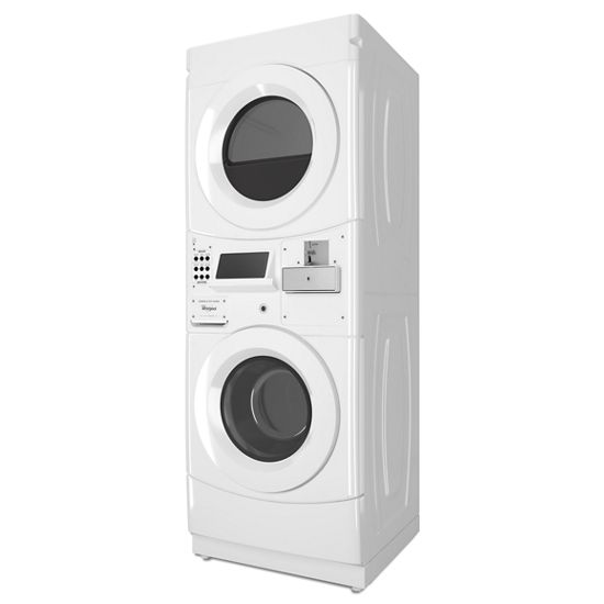Model: CET9000GQ | Whirlpool Commercial Electric Stack Washer/Dryer, Coin Equipped