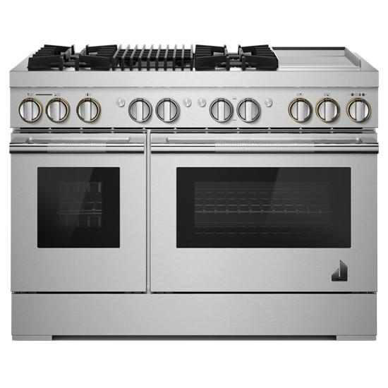 "Jenn-Air RISE™ 48"" Dual-Fuel Professional Range with Chrome-Infused Griddle and Gas Grill"