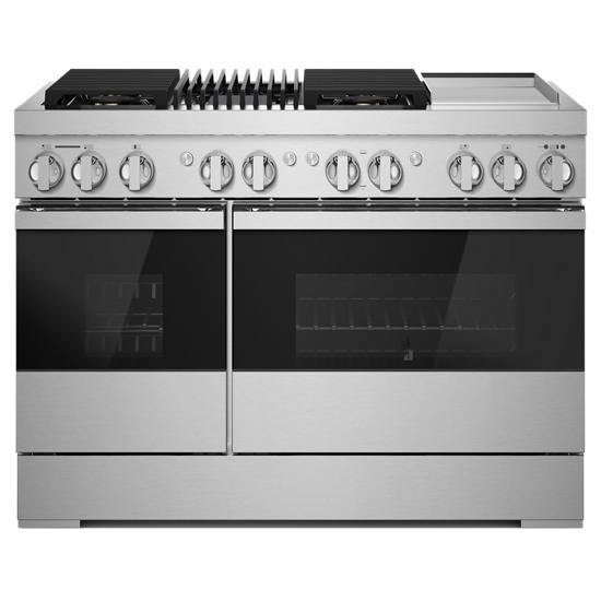 "Jenn-Air NOIR™ 48"" Dual-Fuel Professional Range with Chrome-Infused Griddle and Gas Grill"