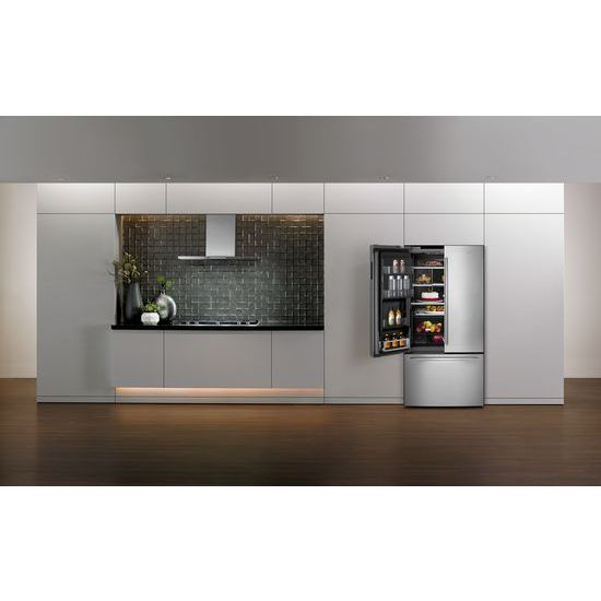 "Model: JFFCC72EFS | Jenn-Air Euro-Style 72"" Counter-Depth French Door Refrigerator with Obsidian Interior"