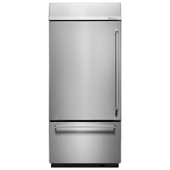 "Model: KBBL306ESS | KitchenAid 20.9 Cu. Ft. 36"" Width Built-In Stainless Bottom Mount Refrigerator with Platinum Interior Design"