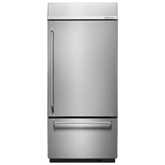 "Model: KBBR306ESS | KitchenAid 20.9 Cu. Ft. 36"" Width Built-In Stainless Bottom Mount Refrigerator with Platinum Interior Design"