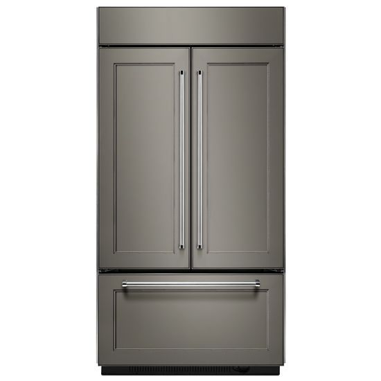 "Model: KBFN502EPA | KitchenAid 24.2 Cu. Ft. 42"" Width Built-In Panel Ready French Door Refrigerator with Platinum Interior Design"