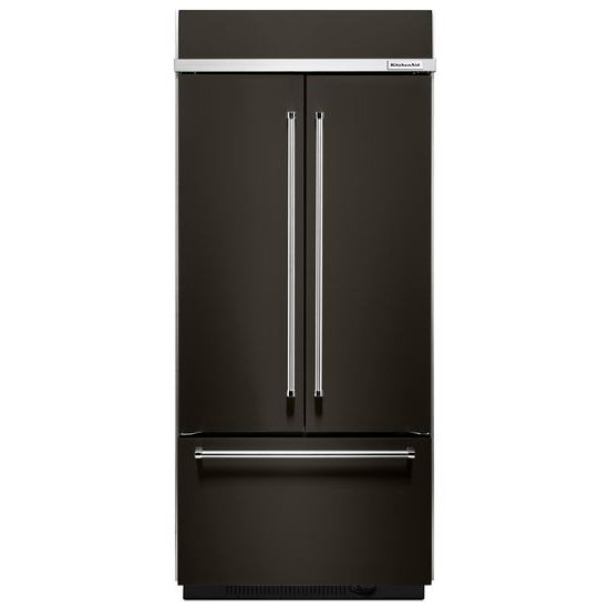 "Model: KBFN506EBS | KitchenAid 20.8 Cu. Ft. 36"" Width Built In Stainless Steel French Door Refrigerator with Platinum Interior Design"