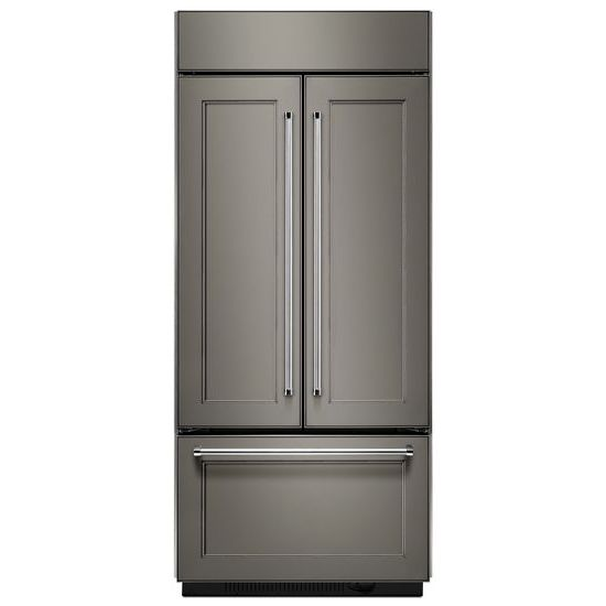 "KitchenAid 20.8 Cu. Ft. 36"" Width Built In Panel Ready French Door Refrigerator with Platinum Interior Design"