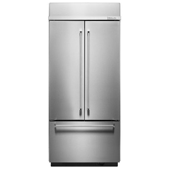 "KitchenAid 20.8 Cu. Ft. 36"" Width Built In Stainless Steel French Door Refrigerator with Platinum Interior Design"