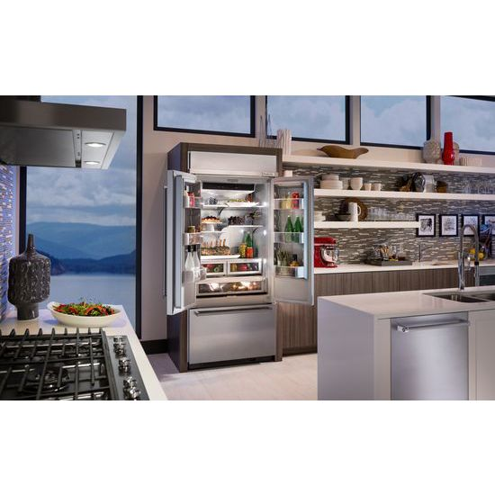 "Model: KBFN506ESS | KitchenAid 20.8 Cu. Ft. 36"" Width Built In Stainless Steel French Door Refrigerator with Platinum Interior Design"
