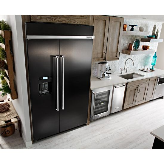 Kitchenaid Kbsd608ebs 29 5 Cuft Black Stainless Steel 2: 29.5 Cu. Ft 48-Inch Width Built-In Side By Side Refrigerator With