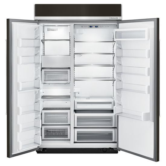 Model: KBSN608EBS | 30.0 cu. ft 48-Inch Width Built-In Side by Side Refrigerator with PrintShield™ Finish