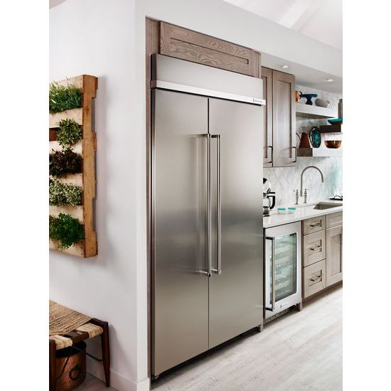 Model: KBSN608ESS | KitchenAid 30.0 cu. ft 48-Inch Width Built-In Side by Side Refrigerator with PrintShield™ Finish