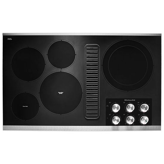 "Model: KCED606GSS | KitchenAid 36"" Electric Downdraft Cooktop with 5 Elements"