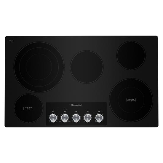 "Model: KCES556HBL | KitchenAid 36"" Electric Cooktop with 5 Elements and Knob Controls"
