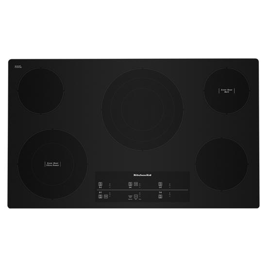 "KitchenAid 36"" Electric Cooktop with 5 Elements and Touch-Activated Controls"