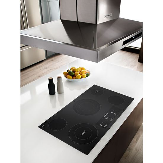 "Model: KCES956HBL | KitchenAid 36"" Electric Cooktop with 5 Elements and Touch-Activated Controls"