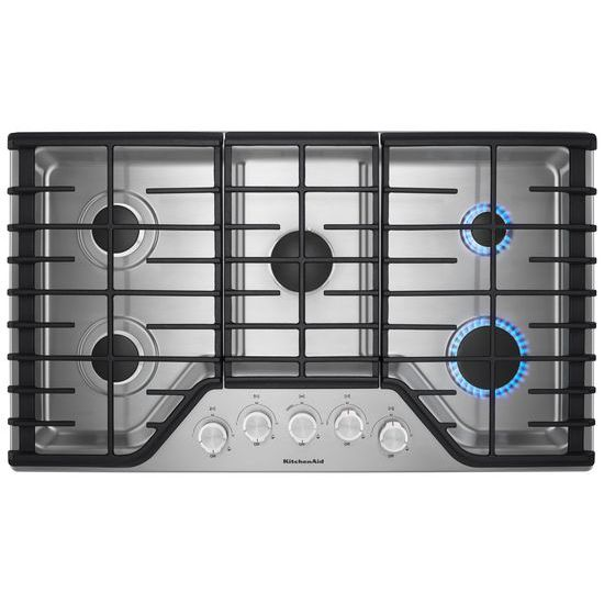 "Model: KCGS356ESS | KitchenAid 36"" 5-Burner Gas Cooktop"