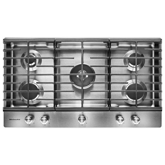 "Model: KCGS556ESS | KitchenAid 36"" 5-Burner Gas Cooktop"