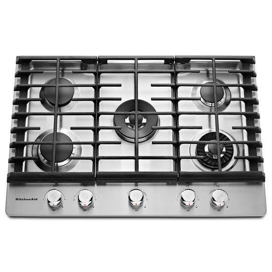 Model: KCGS950ESS | 30'' 5-Burner Gas Cooktop with Griddle