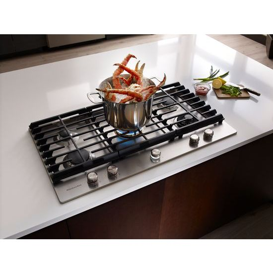 Model: KCGS956ESS | 36'' 5-Burner Gas Cooktop with Griddle