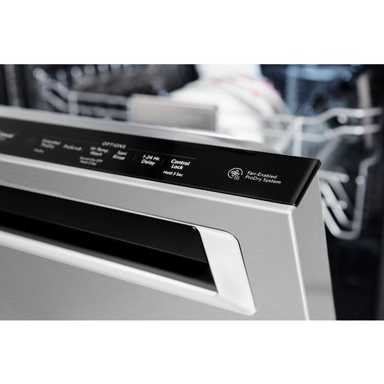 Model: KDPM354GPS | KitchenAid 44 DBA Dishwashers with Clean Water Wash System and PrintShield™ Finish, Pocket Handle