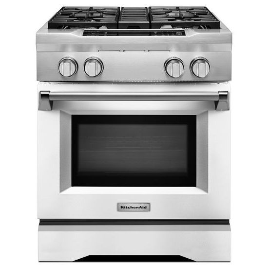 Model: KDRS407VMW | KitchenAid 30'' 4-Burner Dual Fuel Freestanding Range, Commercial-Style
