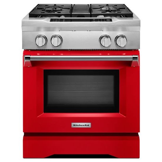 Model: KDRS407VSD | KitchenAid 30'' 4-Burner Dual Fuel Freestanding Range, Commercial-Style