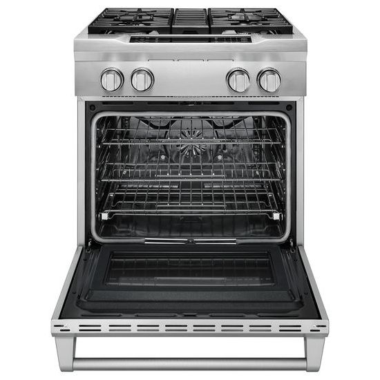 Model: KDRS407VSS | KitchenAid 30'' 4-Burner Dual Fuel Freestanding Range, Commercial-Style