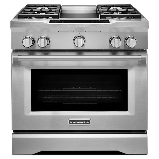 KitchenAid 36'' 4-Burner with Griddle, Dual Fuel Freestanding Range, Commercial-Style