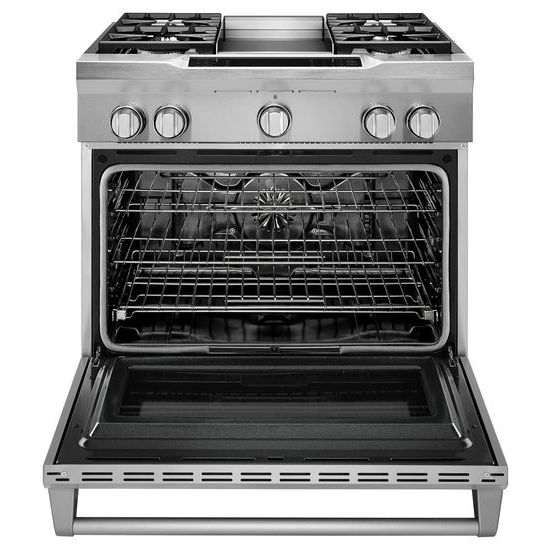 Model: KDRS463VSS | 36'' 4-Burner with Griddle, Dual Fuel Freestanding Range, Commercial-Style