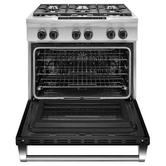 Model: KDRS467VBK | 36'' 6-Burner Dual Fuel Freestanding Range, Commercial-Style