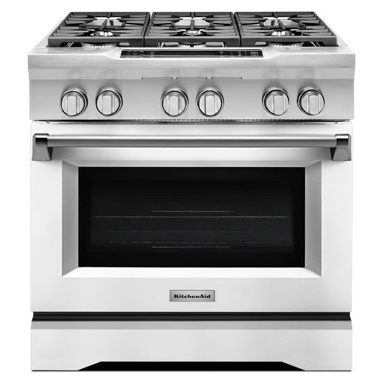 Model: KDRS467VMW | 36'' 6-Burner Dual Fuel Freestanding Range, Commercial-Style
