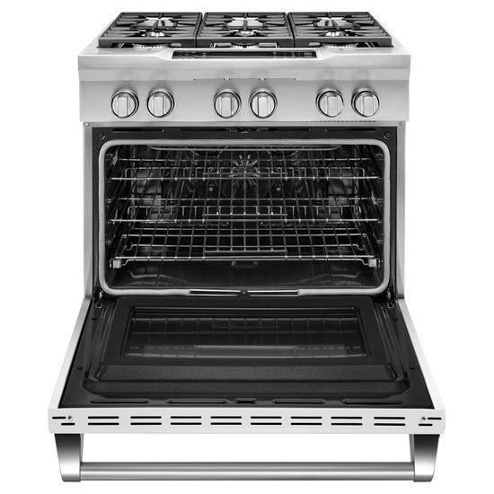 Model: KDRS467VMW | KitchenAid 36'' 6-Burner Dual Fuel Freestanding Range, Commercial-Style