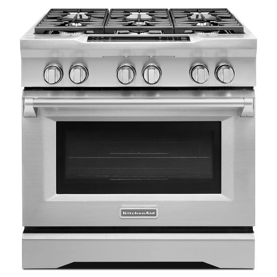 Model: KDRS467VSS | KitchenAid 36'' 6-Burner Dual Fuel Freestanding Range, Commercial-Style
