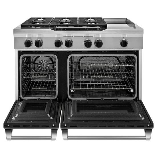 Model: KDRS483VBK | 48'' 6-Burner with Griddle, Dual Fuel Freestanding Range, Commercial-Style