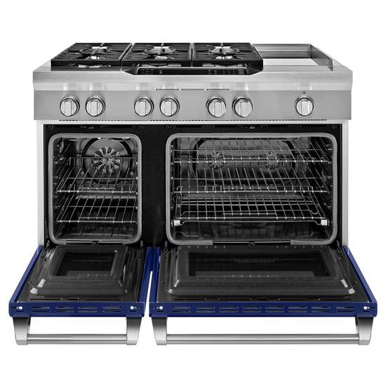 Model: KDRS483VBU | 48'' 6-Burner with Griddle, Dual Fuel Freestanding Range, Commercial-Style