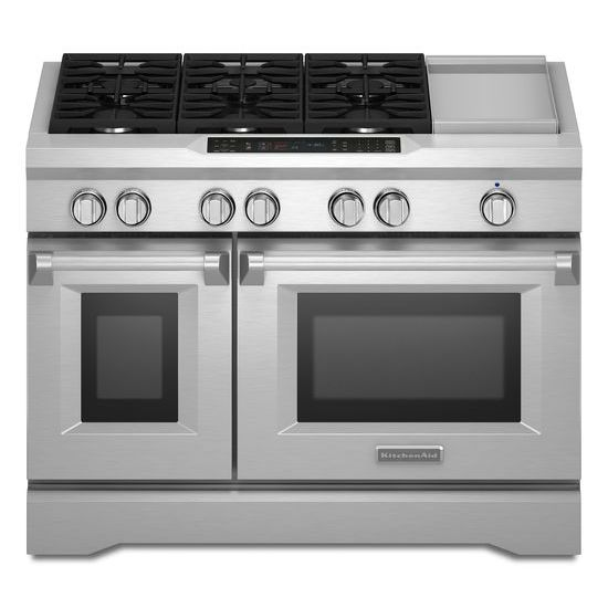 Model: KDRS483VSS | KitchenAid 48'' 6-Burner with Griddle, Dual Fuel Freestanding Range, Commercial-Style