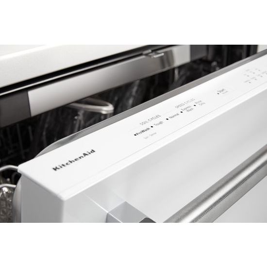 Model: KDTE234GWH | KitchenAid 46 DBA Dishwasher with Third Level Rack