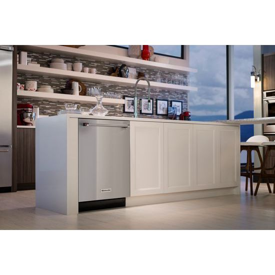 Model: KDTM704ESS | KitchenAid 44 dBA Dishwasher with Dynamic Wash Arms and Bottle Wash