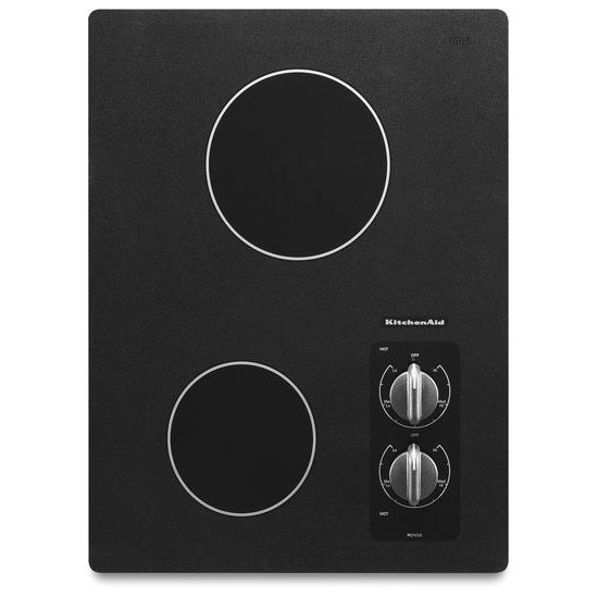 "Model: KECC056RBL | KitchenAid 15"" Electric Cooktop with 2 Radiant Elements"