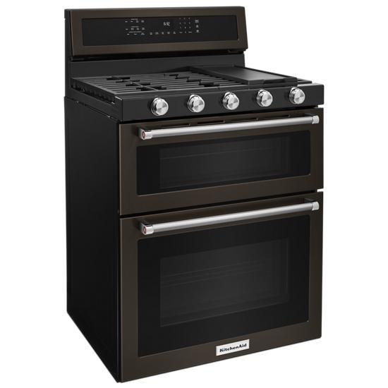 Model: KFGD500EBS | 30-Inch 5 Burner Gas Double Oven Convection Range