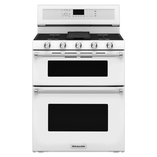 Model: KFGD500EWH | KitchenAid 30-Inch 5 Burner Gas Double Oven Convection Range