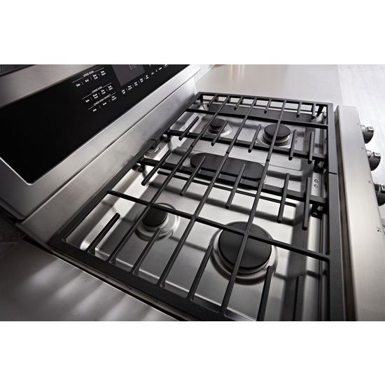Model: KFGD500EWH | 30-Inch 5 Burner Gas Double Oven Convection Range