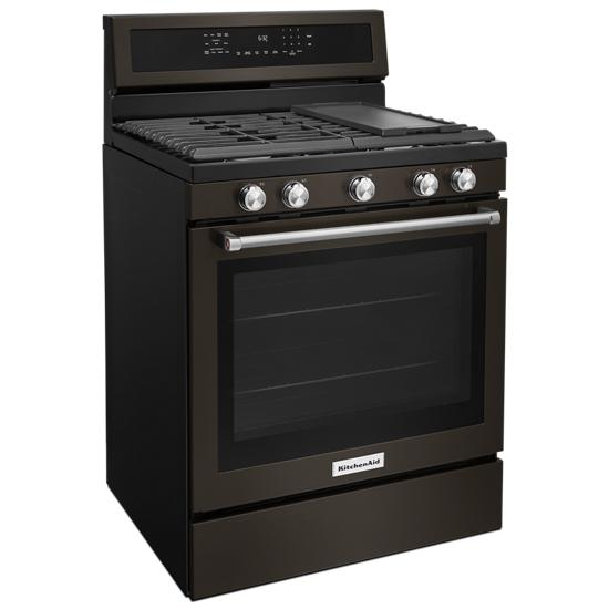 Model: KFGG500EBS | 30-Inch 5-Burner Gas Convection Range