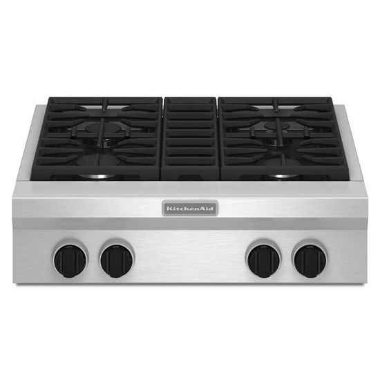 Model: KGCU407VSS | KitchenAid 30-Inch 4 Burner Gas Rangetop, Commercial-Style